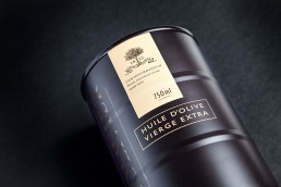 styled image of an expensive olive oil in a black can