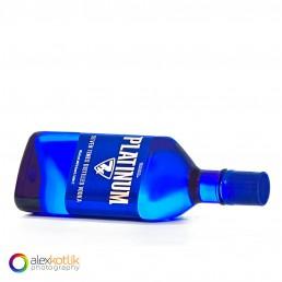 alcohol vodka blue glass bottle