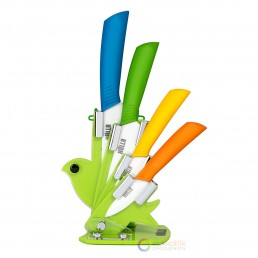 set of colorful knives